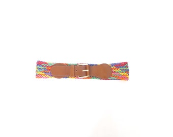 Colored Rope Brown Leather Waist Belt. Small - Medium. Vintage Woven Wide Belt. Made in Italy