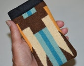 iphone sleeve se - iphone 5 5s cover case sleeve wallet - turquoise and brown Native American fabric colorful southwestern fathers day gift