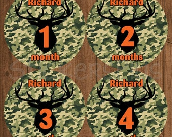 Personalized Baby Month Stickers Custom Name Camo Camouflage Deer Silhouette Hunter Hunting Baby Boy Stickers Baby Milestone Sticker Gift