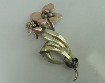 A & Z Lily Brooch - Silver and 1/20 12K GF - signed