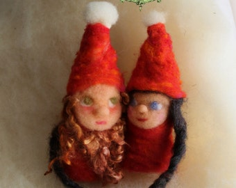 Boy and Girl Valentines Elves Finger Puppets. Needle-felted Finger and Heart-warmers by Castle of Costa Mesa