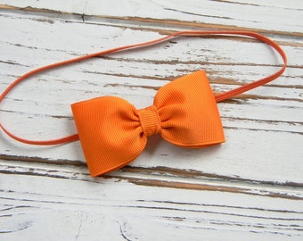 Pumpkin Bow Headband - Newborn Bow Headband - Baby Pumpkin Bow Headband - Orange Bow Headband