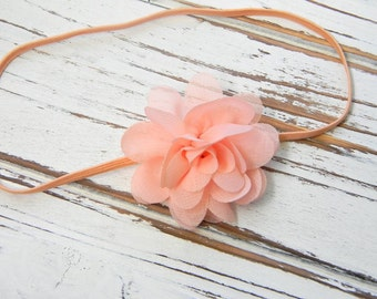 Chiffon Flower Headband - Newborn Headband - Peach Chiffon Headband - Peach Flower Headband