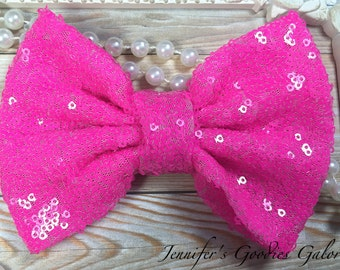 "X-Large, 5"", SEQUIN Neon Pink Bow, Sequin Bow Headband, Large Bows, Hair Bows, Glitter Bows, Wholesale, Big Bow, Sequin Bow"