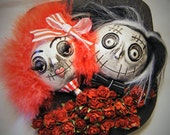 Ooak 2 Headed Black Red Goth  Punk Doll Heads Wall Hanging Picture 3D