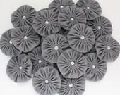 GRAY fabric YoYo Flowers Embellishments, Fabric Yoyos, yo-yo's, Flowers 1.5 inch yo yo, yo-yo supplies by WhiteLilyFlowers
