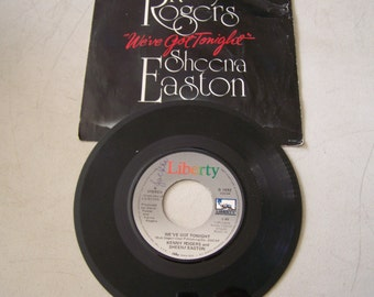 "Vintage 1970's 45 rpm Vinyl Record "" We've Got Tonight"" By Kenny Rodgers and Sheena Easton"