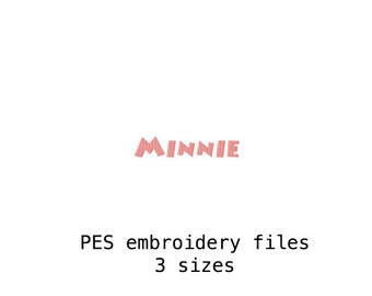 Minnie Mouse Embroidery Font (PES) in 3 Sizes