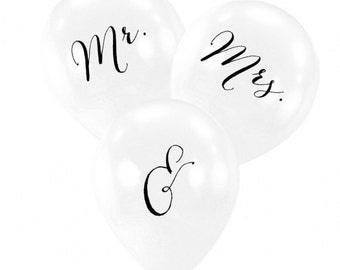 Mr. & Mrs. Balloons wedding reception bridal shower engagement party-Set of 6