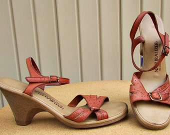 vintage 70s rust leather heels sandals 7 naturalizer double buckle ankle strap hippie boho
