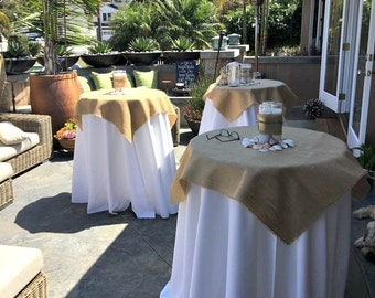 """Natural Burlap Table Cloth 40"""" up to 90"""" Large Burlap Overlay Rustic Table Settings"""