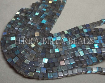 "14"" strand LABRADORITE smooth gem stone cube beads 4.5mm blue green gold"
