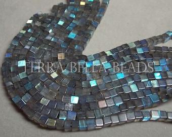 "14"" strand LABRADORITE smooth gem stone cube beads 4.5mm - 5mm blue green gold"
