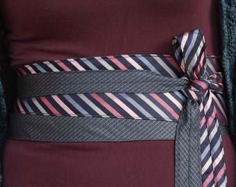 Pink & Blue Stripes -  Obi Wrap Belt Recycled Silk Ties Navy Pink