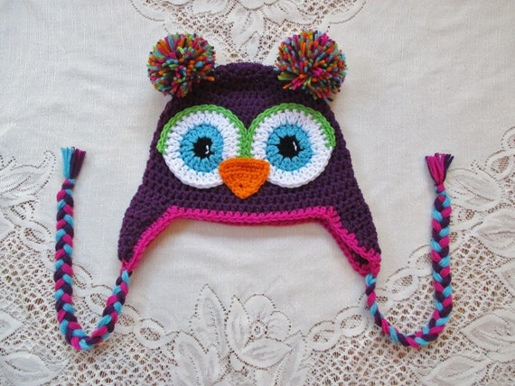 Dark Purple and Bright Pink Crochet Owl Hat - Photo Prop - Available in Any Size or Color Combination