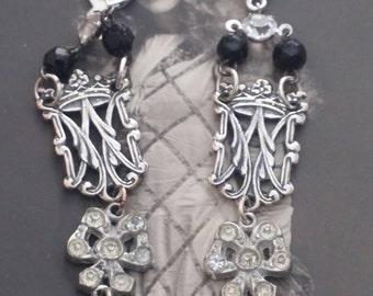 RHINESTONE BOW dangling VINTAGE antique assemblage earrings