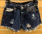 Vintage Levis cut off shorts with Metal Studs and Serape Blanket details
