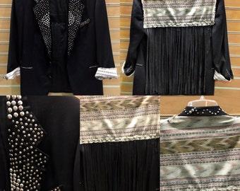 Amazing Hand Studded Black Blazer with Southwest Print and Leather Fringe