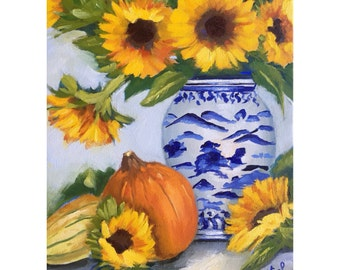 Original oil painting: Fall Sunflowers in blue and white vase with pumpkins