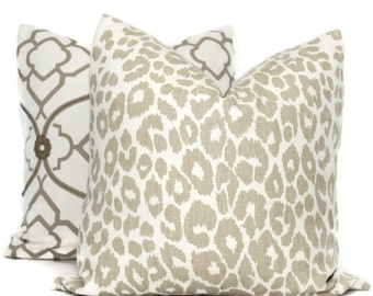 Schumacher Iconic Leopard in Linen Decorative Pillow Cover, 20x20 22x22 Eurosham, Lumbar pillow Toss Pillow, Accent Pillow, Throw Pillow
