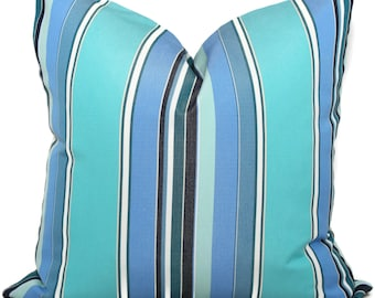 Sunbrella Blue and Turquoise  Stripe Indoor Outdoor Pillow Cover, Throw Pillow, Pool Pillow