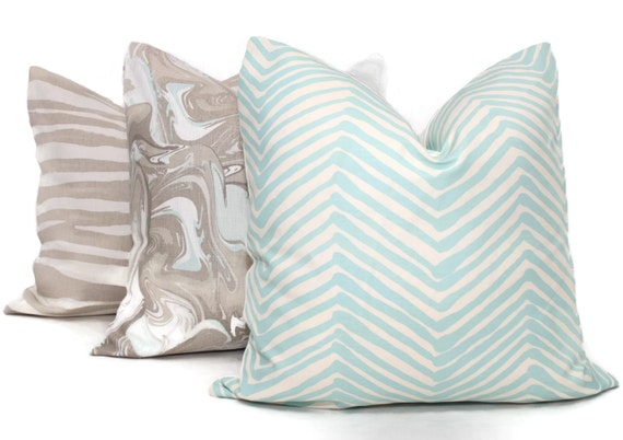 Queen Throw Pillows : Aqua Zig Zag Quadrille Pillow Cover 18x18 20x20 22x22