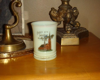 Antique Custard Glass Souvenir Church of the Sacred Heart Parkston So. Dakota