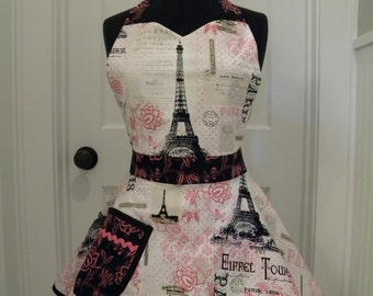 Womens Apron-Paris Pink-Full Sweetheart Apron