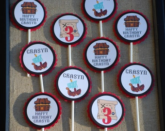 Pirate Birthday Party Cupcake Toppers/ Pirate Theme/ Pirate Birthday Party