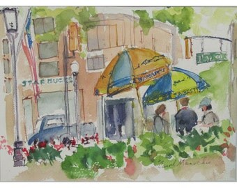 Lunchtime in Morristown, NJ - 9 by 12 inch impressionistic watercolor