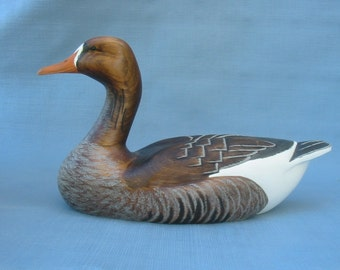 "Hand carved White-fronted ""Specklebelly"" Goose Decoy Robert Kelly"