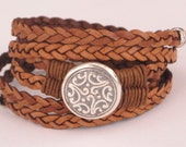 Leather Wrap Bracelet, Braided Flat leather Wrap, etched antique silver medallion, natural saddle leather, silver accents, secure magnet