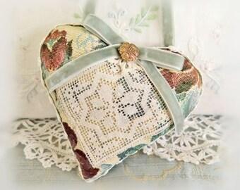 "Heart Ornament / 5"" Tapestry Victorian Style Heart / Home Decor / Door Hanger Heart / Folk Art, Handmade CharlotteStyle Decorative Folk Art"