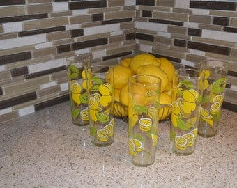 Vintage Lemon Lemonaid Glasses set of 5