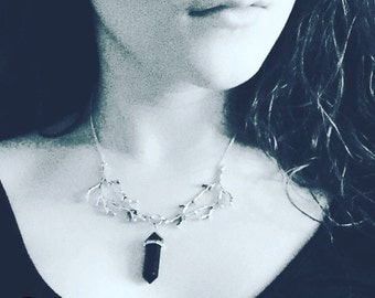 Obsidian Point In Branches Necklace