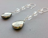 Wire Wrapped Rock Crystal Earrings with Pyrite Briolette and Sterling Silver