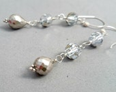 Long Pyrite and Swarovski Crystal Sterling Silver Earrings