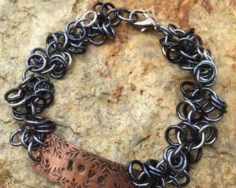 Copper Stamped LOVE Bar and Hombre Black Chainmaille Bracelet