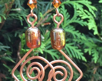 Copper Spiral Earrings with Iridecent Copper Glass Bead and Golden Swarovski Crystal