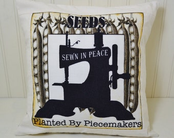 Retro Sewing Theme Decorative Pillow Cover - Religious - Seeds Sewn in Peace Planted by Piecemakers - Home Decor - Quilting Treasures
