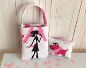 Miniature Tote Bag And Throw Pillow - A Parisian Girl And Her Doggie