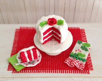 Miniature Red And Pink Layer Cake And A by LittleThingsByAnna