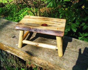 RUSTIC LOG FOOTSTOOL, Primitive Seat, Fireside Stool, Wood Stool, Plant stand, Foot Stool, Wood Bench, Wood Table, Reclaimed Salvage, Bench