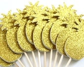 Pineapple Cupcake Toppers, Yellow Gold, Double Sided, Bridal Shower, Tropical Party