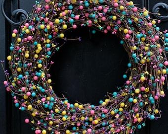 Spring Wreath - Summer Wreath - Berry Wreath - Birthday Gift - Door Wreath