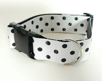 Ready to Ship - Dog Collar- 2 sizes available - Black Polka Dots on White