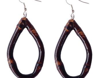 Tiki Oval Bamboo Earrings (Burnt Wood)