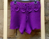 Purple Crochet  Shorts, Beach Bikini Pantie, Summer Beach Bikini, Hippie Shorts, Shorts Hot Pants, Sexy Bikini, Summer Short Beachwear