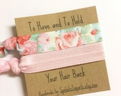 Hair Tie Bridesmaid Gift - Will you be my Bridesmaid Gift - Vintage Floral Pink Hair Tie Favor - Bridesmaid Proposal - Bridal Party Gift