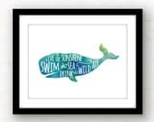 live in the sunshine | watercolor art | ralph waldo emerson quote art | drink the wild air | nautical decor